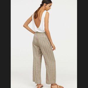 High waist wide cut stripe pants